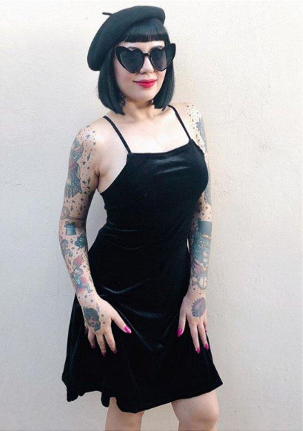 Vestido de Alcinha de Veludo Preto Gothic Pin Up Horror Dark 90s