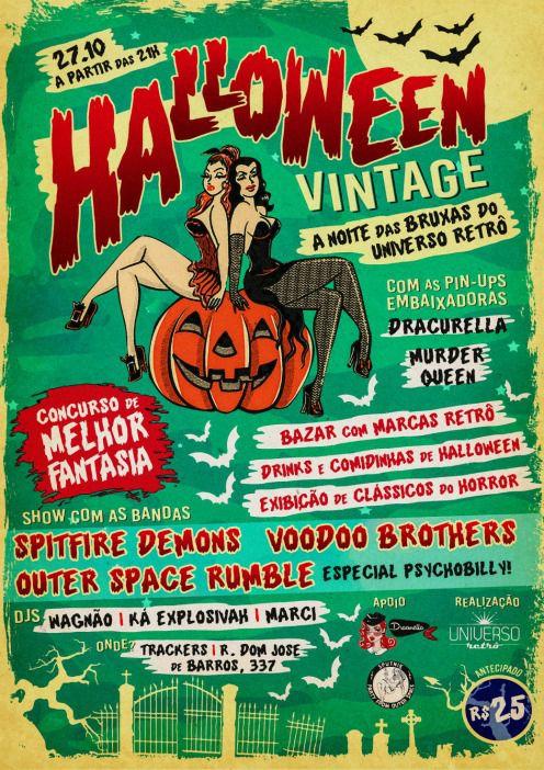 Ingresso Festa Halloween Vintage - Dia das Bruxas do Universo Retrô 27/10/18