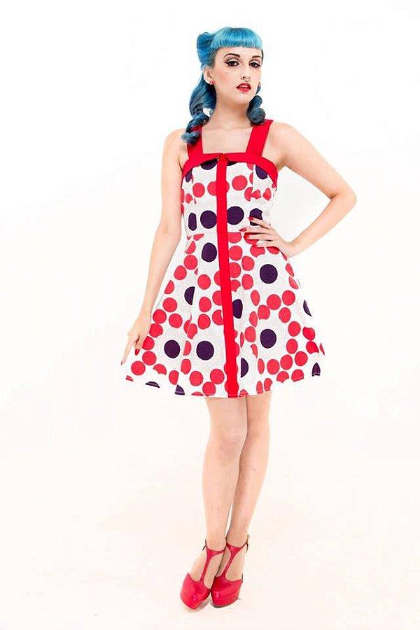 Vestido Pin Up Alça Cruzada Bolinha e Flores Vintage Retrô Trapezia