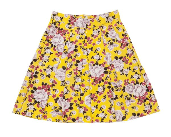Saia Midi Floral amarelo com pregas e bolsos