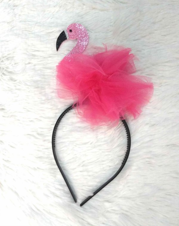 Tiara de Flamingo Rock Pink e Tule Carnaval Festa
