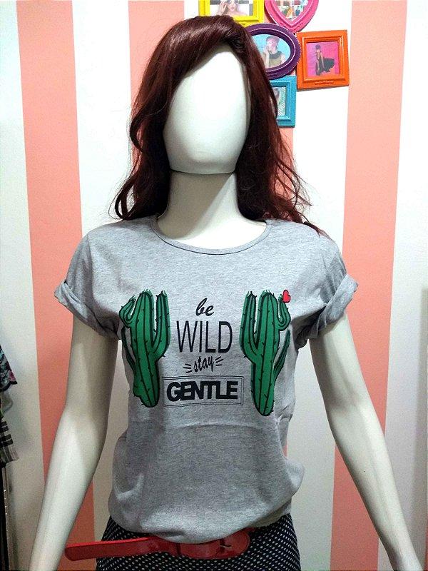 Camiseta Baby Look Cactos Western Mexico Frase