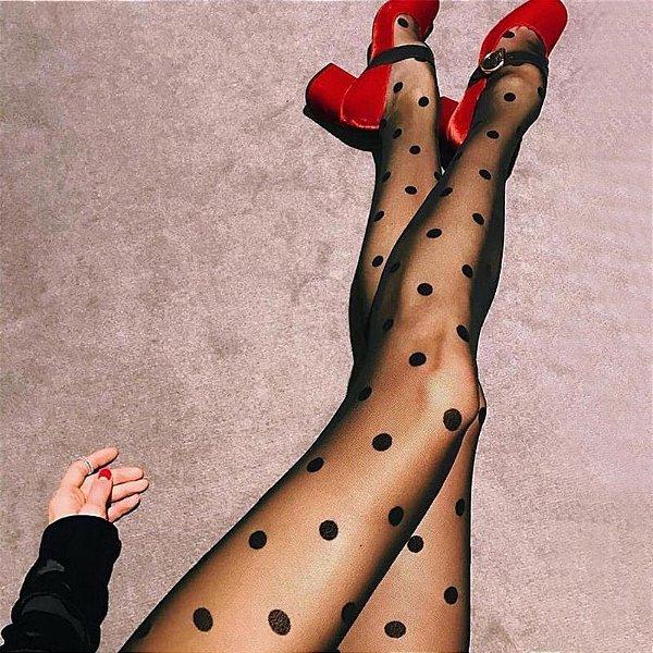 Meia-calça fina de Bolinha Grande Poá Pin Up Lolita Retrô