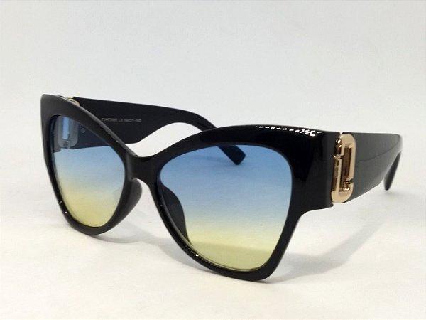 Óculos Gatinho Grande Oversize Degradê anos 60 Pin Up Retrô