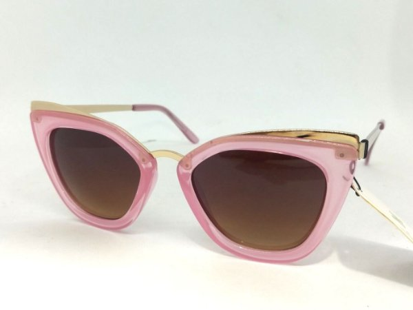 Óculos Gatinho Geométrico com detalhes Dourados Pin Up Retrô