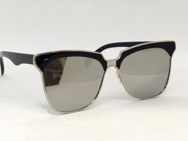 Óculos Retrô Preto Espelhado 60s Unissex