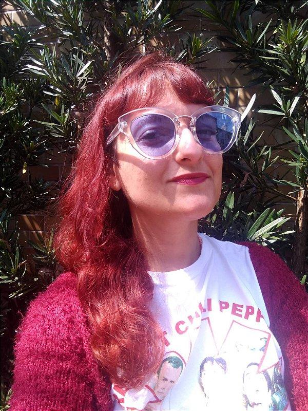 Óculos Transparente Redondo com lente azul 60s 70s Retrô