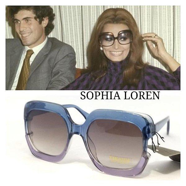Óculos Quadrado Grande Bicolor Anos 70 80 Sophia Vintage Retrô