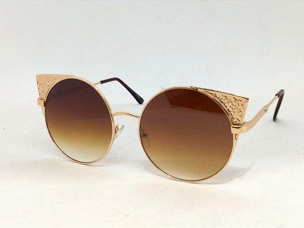 Óculos Redondo com Detalhe Dourado Vintage Retrô
