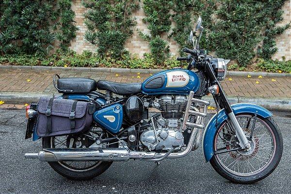 Aluguel de Moto Retrô Royal Enfield Classic 500 Azul Fotos Vídeos