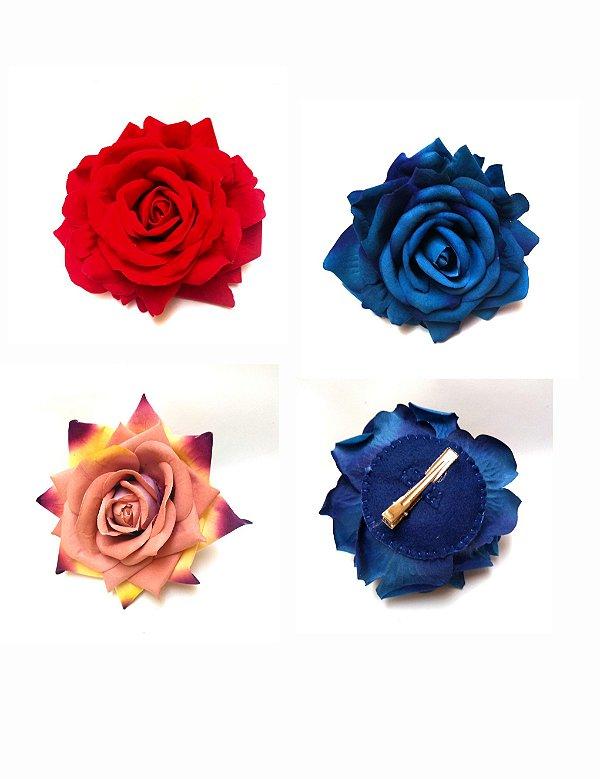 Flor Grande de Cabelo Rosa Aveludada Pin Up Retrô Vintage Style