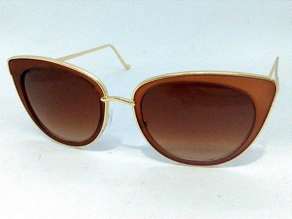 Óculos Escuros Gatinho com Dourado 50s Vintage Retrô Pin Up