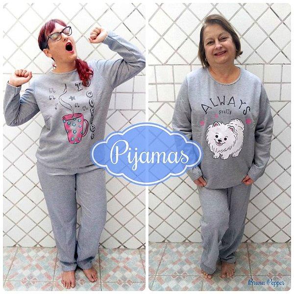 Pijama Manga Longa Moletom Flanelado Estampado Fofinho Home Office