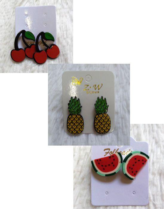 Brincos de Frutas Divertidos Tropicais Retrô