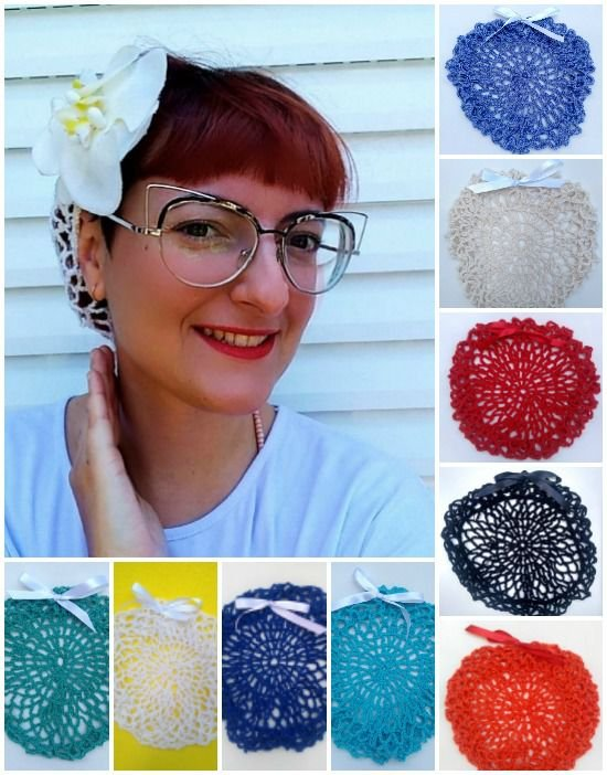 Snood de Crochê - Redinha de Cabelo Vintage Pin Up