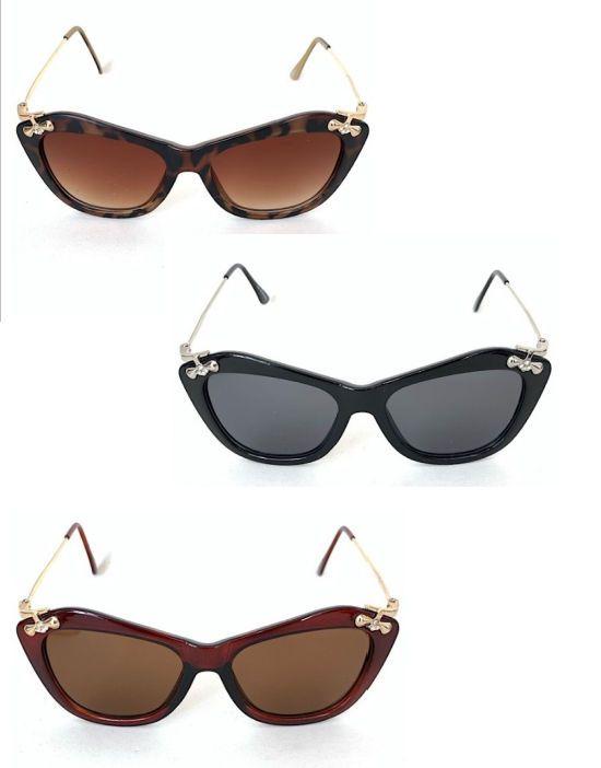 Óculos Escuros Gatinho com Strass Vintage Retrô Pin Up