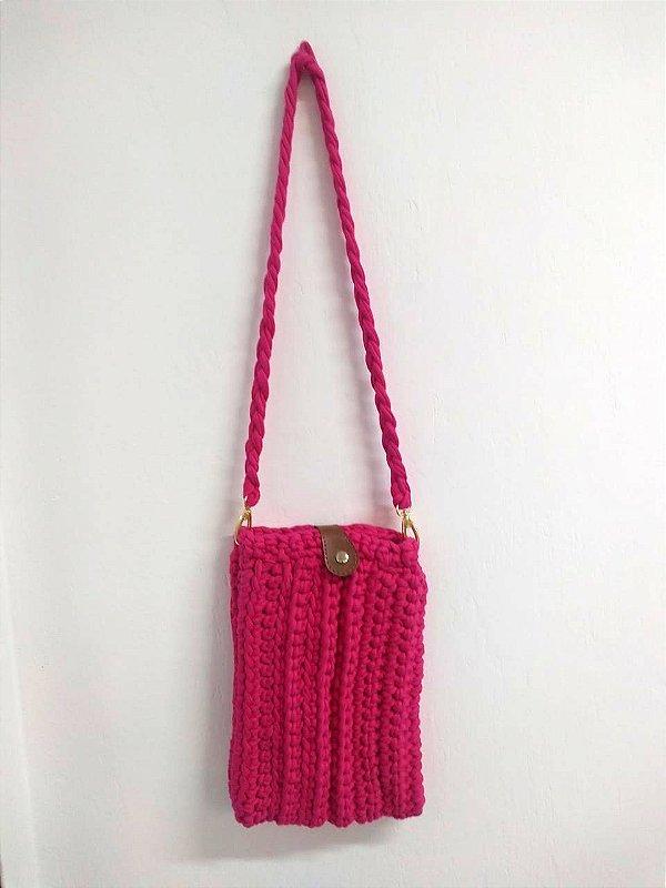 Bolsa Barbie Alça Trançada Crochê Malha