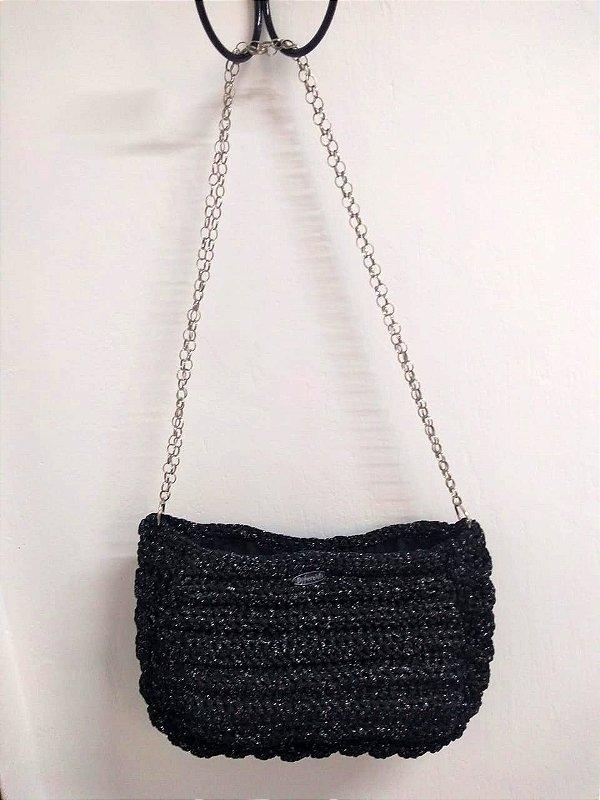 Bolsa Tiracolo Crochê de Malha Alça Corrente Retrô Lurex