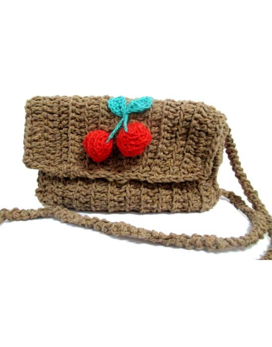 Bolsa Transversal Pin Up Retrô de Cereja em Crochê Cherry
