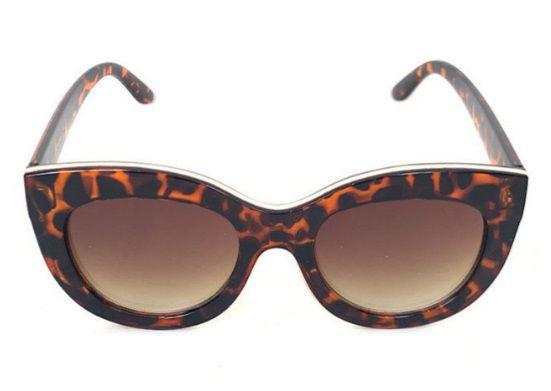Óculos Escuros Gatinho Grande com Dourado Gênova Pin Up Retrô