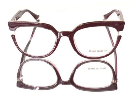 Óculos Armação Gatinho para Grau Vinho Pin Up Retrô