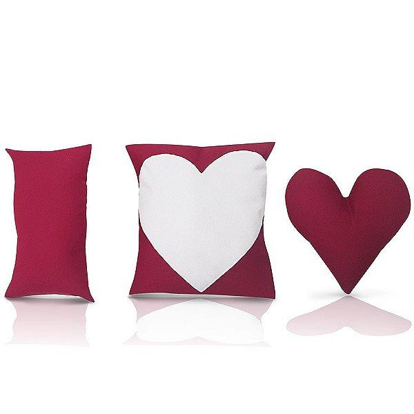 Almofada de coração - Kit 2 unidades