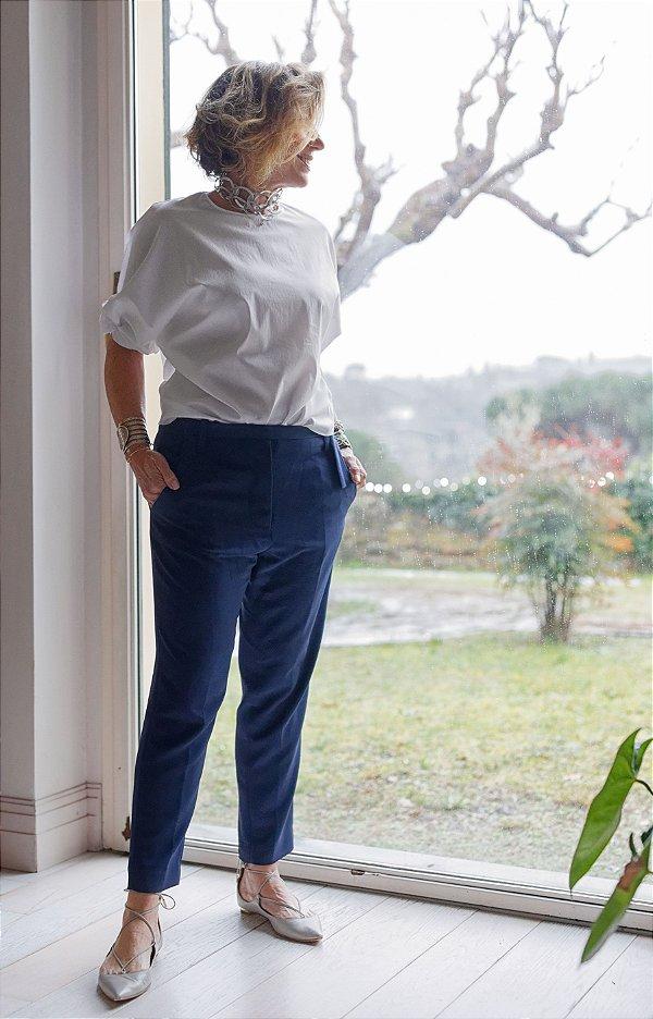 Blusa tricoline com detalhe na manga off white