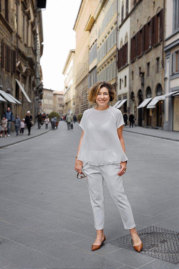 Blusa plissada off white