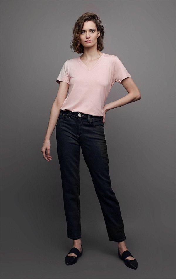 T-Shirt CB Decote V Rose