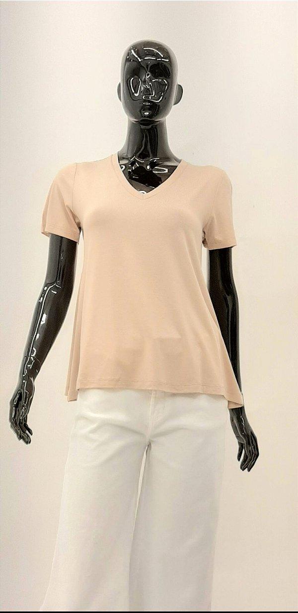 T-Shirt CB Decote V Bege