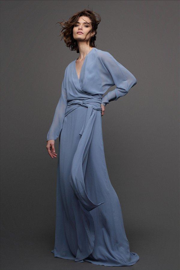 Vestido Musseline Festa Azul