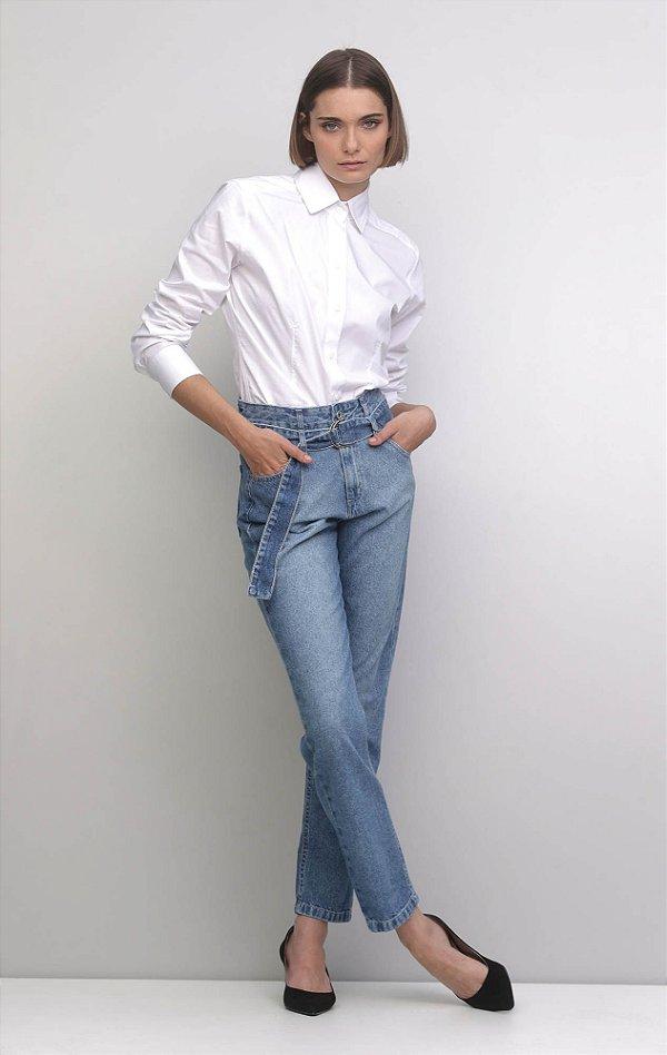 Calça Cinto Argola Jeans
