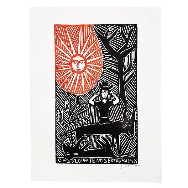 """Xilogravura """"O Sol Quente no Sertão"""" G - J. Borges - PE"""