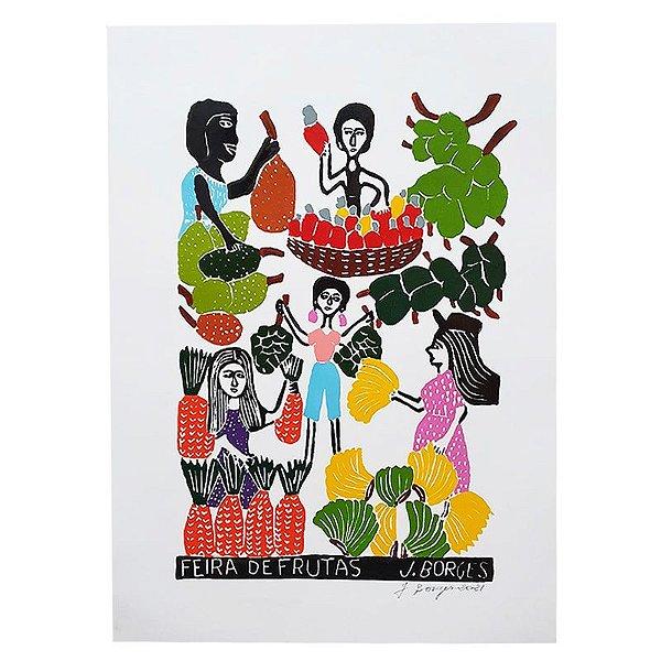 "Xilogravura ""Feira de Frutas"" G - J. Borges - PE"