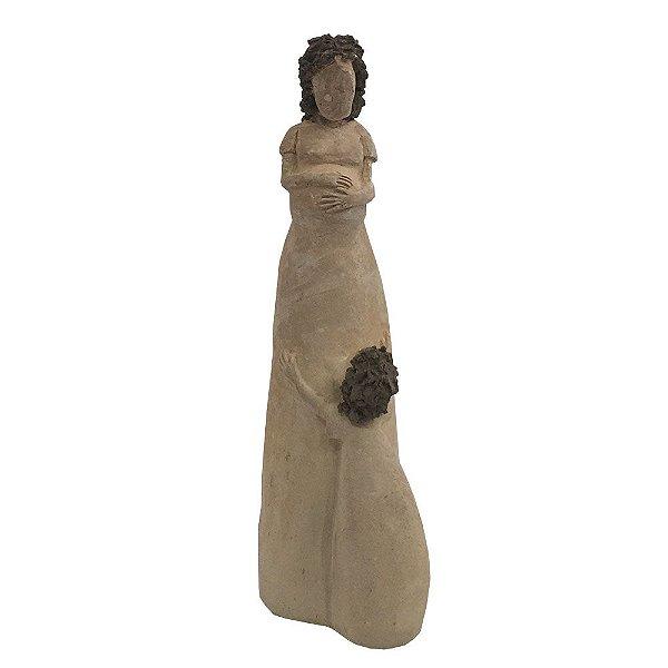 Escultura Mãe Com Criança em Barro - MG