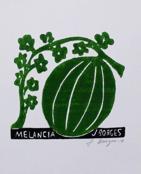"Xilogravura ""Melancia"" P - J. Borges - PE"