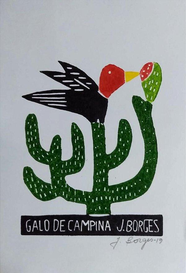 Xilogravura J. Borges Galo de Campina  - PE