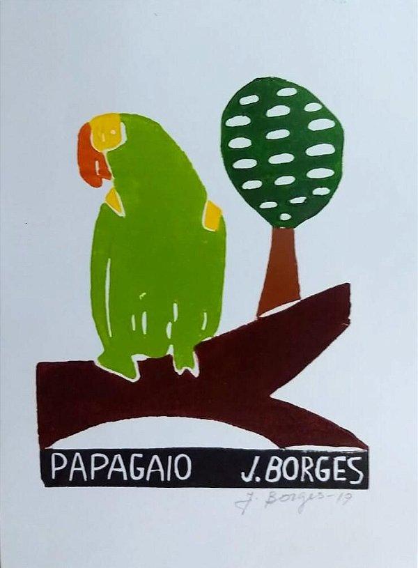 "Xilogravura ""Papagaio"" P - J. Borges - PE"