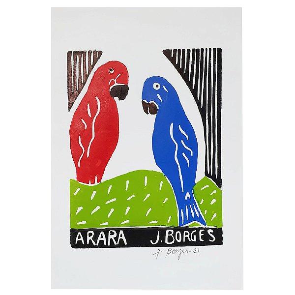 "Xilogravura ""Arara"" P -  J. Borges - PE"