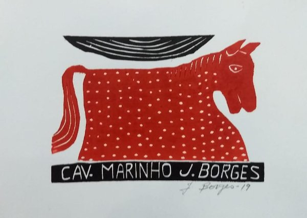 Xilogravura J. Borges Cav. Marinho P - PE