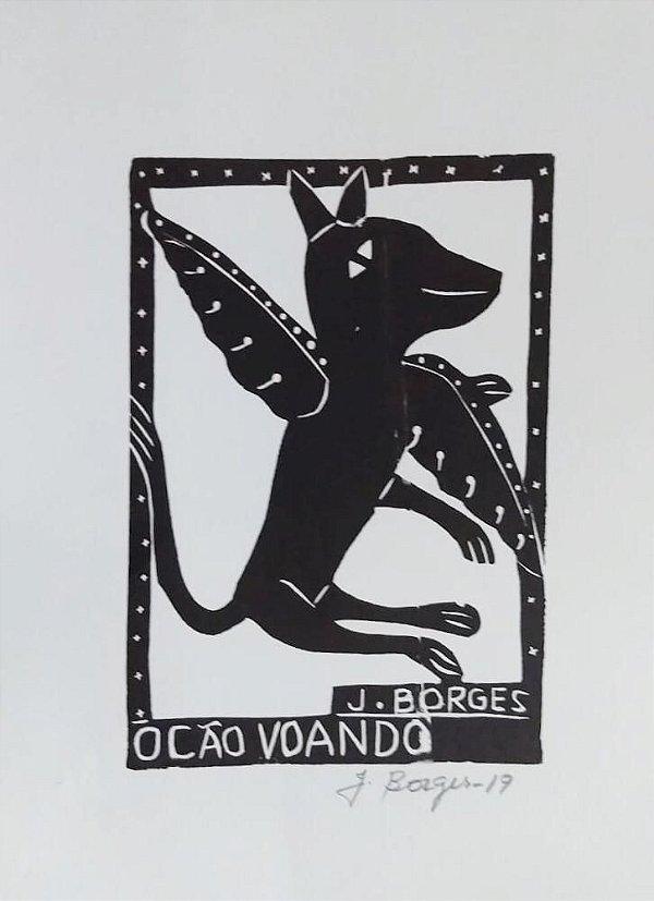 Xilogravura J. Borges O Cão Voando P - PE