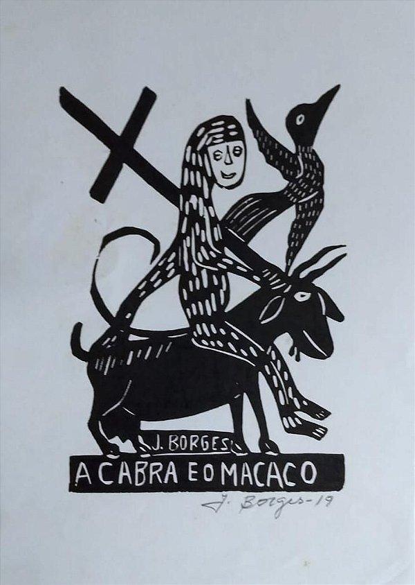 Xilogravura J. Borges A Cabra e o Macaco P - PE