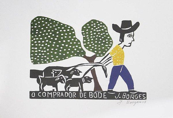 Xilogravura J. Borges O Comprador de Bode M - PE