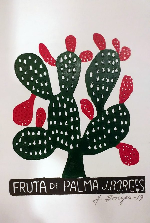 Xilogravura J. Borges Fruta de Palma P- PE