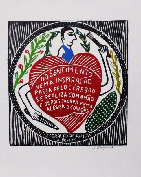 Xilogravura J. Borges Coração de Artista G - PE