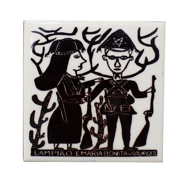 Azulejo em Xilogravura Lampião e Maria Bonita J. Borges - PE