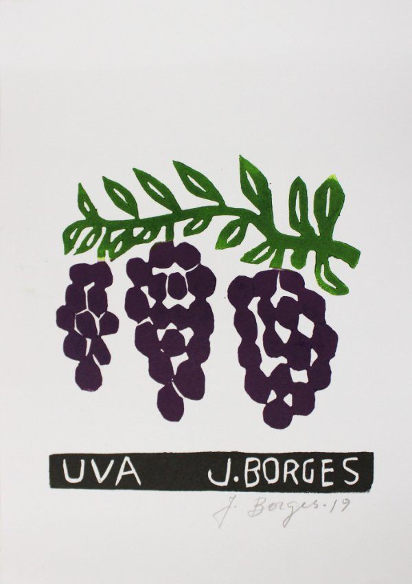 Xilogravura J. Borges Uva P- PE