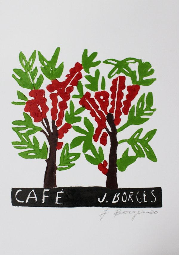 Xilogravura J. Borges Café P - PE