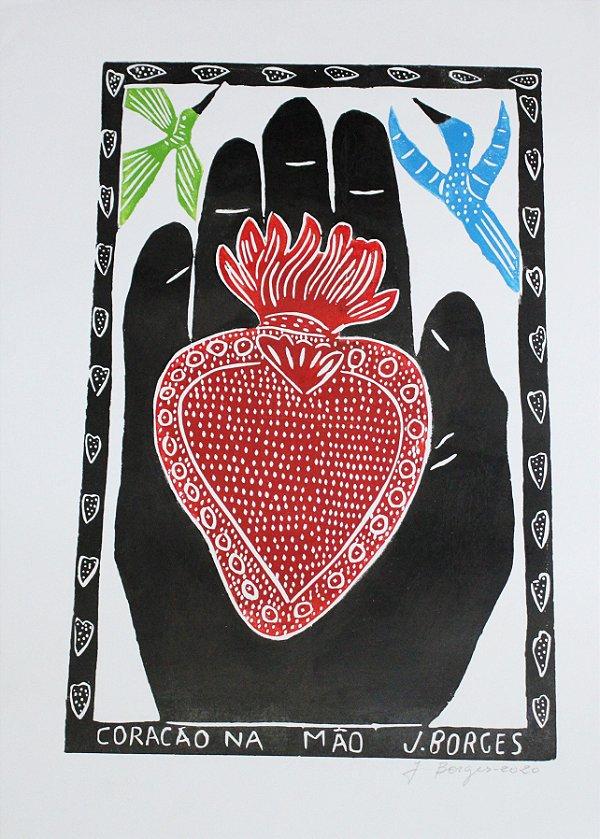 Xilogravura J. Borges Coração na Mão G - PE