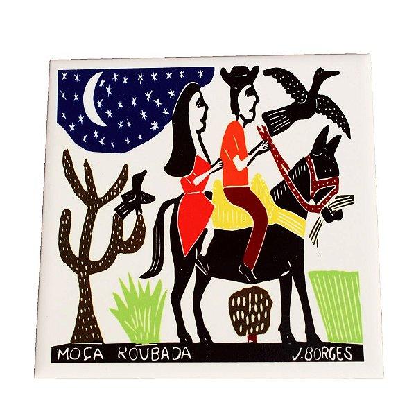 Azulejo em Xilogravura Moça Roubada J. Borges - PE